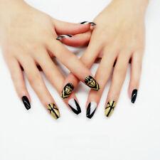 False nails UV Gel Coffin Gold Black White Geometric 24pk VIVI Nail