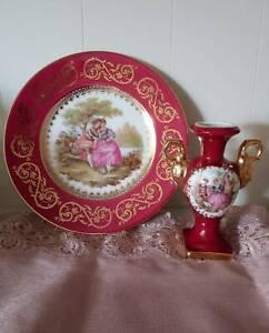 LIMOGUES FRANCE- Vintage Porcelain 22 Kt Fragonard Plate & Miniature Vase Set