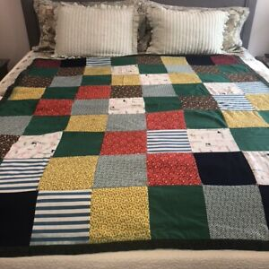 """Vintage 60s Handmade Patchwork Quilt 68""""x61""""Twin Sz Block Hand Tied Knits Woven"""