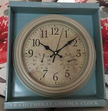 Vintage Shabby Chic Traditional Lincoln Wall Clock Kitchen Dining Room Cream
