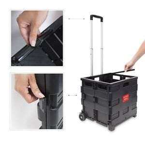 Extra Large 35Kg Folding Shopping Cart Trolley Foldable Crate Storage Boot Wheel