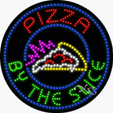 """NEW """"PIZZA BY THE SLICE"""" 26x26 SOLID/ANIMATED LED SIGN w/CUSTOM OPTIONS 21335"""