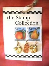 "NOC ""THE STAMP COLLECTION"" UNIQUE PLASTIC POSTAGE STAMP & FRUIT CHARM PIN"