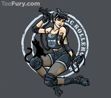 CATWOMAN Whip It Roller Derby BATMAN DC Comic Book Variant NEW TEEFURY T-SHIRT!!
