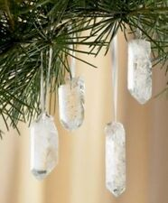 Clear Quartz Christmas Tree Ornament Clear Quartz Point Crystal Hanging Decor.