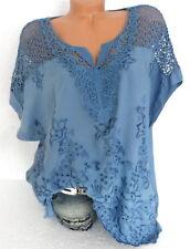 Tunika Bluse Italy Shirt Häkel Spitze bestickt große Größe Übergröße Blau 44 46