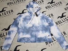 BNWT Women's HOLLISTER Boxy Hoodie Size M Blue Yie-Dye