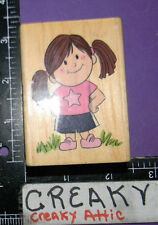 AMBER IN A STAR TSHIRT LITTLE GIRL RUBBER STAMP STAMPABILITIES