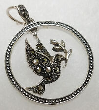 Nature's Jewelry Marcasite Dimensional Hummingbird Sterling Pendant