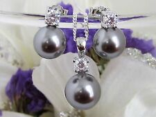 Schmuckset 925 Silber Ohrringe Anhänger Kette graue Perlen Perlenset m. Zirkonia