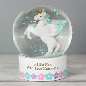 Personalised Unicorn Snow Globe 1st Birthday Gift Idea Christmas Girls Kids Baby