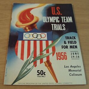 1956 U.S. Team TRIALS Program~MELBOURNE OLYMPICS Men's TRACK & FIELD~Los Angeles