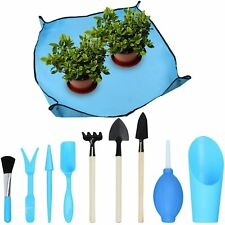 1Pc Garden Work Cloth with 9Pcs Mini Garden Hand Transplanting Succulent Tools