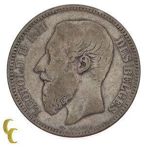 1867 Belgium Belgian 2 Francs Silver Coin Very Fine Condition KM #30.1