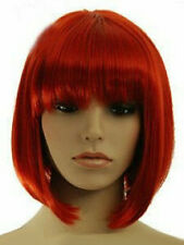 Hot Sell Fashion Red Short Bob Straight Bangs Women Lady Girl Hair Wig Wigs +Cap
