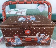 NEW Raggedy Ann & Andy Brown Sewing Basket  Box with Tray Japan