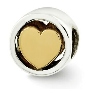Heart Bead .925 Sterling Silver & Gold Plated Reflection Beads