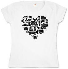 CONTROLLER HEART II GIRLIE SHIRT - Video Game Gamepad NES Evolution Joystick TV