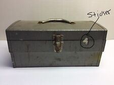 Antique Vintage Metal Carry Tool Box With Inside Tray