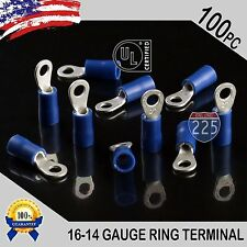100 PACK 16-14 Gauge #6 Stud Insulated Vinyl Ring Terminals 100% Tin Copper Core