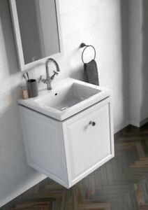Oristo Montebianco 50  Badezimmerschrank Badezimmer Incl. Keramik Waschbecken