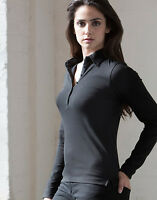 Womens Ladies Casual Skinni Fit Stretch Long Sleeve Polo Shirt Size S-XL