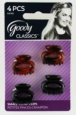 4 Goody Classics Plastic Mini Jaw Claw Small Hair Clips Open Center Brown Black