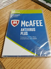 NEW McAFEE Antivirus Plus For PCs Macs Smartphones Tablets - 1 Year Subscription