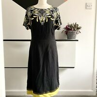 MONSOON Dress Size 10 Black Yellow | SMART Occasion Casual Floral Paisley