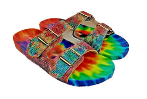 Nicole Miller womens Blingle tie dye bling 2 adjustable buckle sandals US 8
