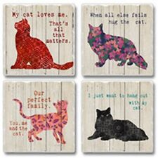 Absorbent Stone Coasters Cat Design Absorbent Verse to Match Cats Set of 4 #1112
