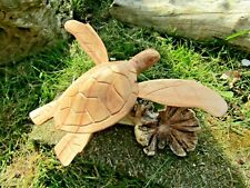 More details for fair trade hand carved made wooden parasite reptile sea beach turtle statue