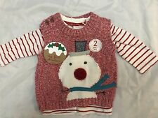 BNWT NEXT BABY BOYS 2 PIECE CHRISTMAS SET LONG SLEEVE TOP AND VEST JUMPER UP TO