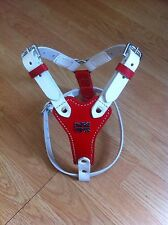 """Beautiful Puppy Leather Harness With Free Lead Red And White (17-21"""")"""