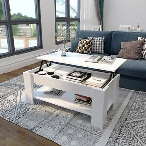 Modern Coffee Table Lift Up Top Drawer Desk with Storage Shelf Living Room White