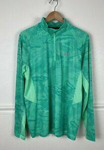 Under Armour Loose Heat Gear Pullover Shirt Green 1/4 Zipper Womens Size Large