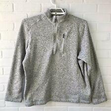Woolrich Womens Fleece Pullover Sweatshirt Size L 1/4 Zip Heather Grey