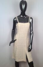 Chanel 06C Cream/White Lesage CC Logo Dress With Sequins and Pearl Trim M3049
