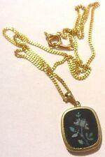 collier pendentif vintage couleur or médaillon noir déco floral * 4825