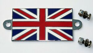 Classic Car GB Union Jack Enamel & Chrome Flag Badge With Stainless Steel Screws