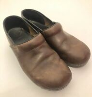 Women's DANSKO Brown Distressed Leather Clogs Comfort Shoes Size 41 US 10.5/11