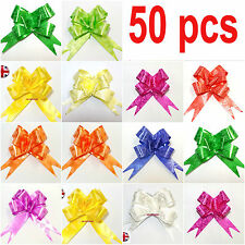 50 LARGE Ribbon Bows assorted colours easy pull flower ribbon party decoration//