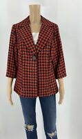 Lane Bryant Women's Blazer Houndstooth Suit Jacket Red Black Size 14 E1