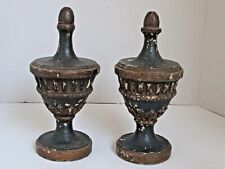 """Antique Italian Carved and Painted Wood Urn Finials 12"""" tall Pair"""