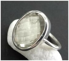 925 Sterling Silver GREEN AMETHYST Semi Precious Gemstone RING SIZE N 1/2 - US 7
