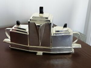 ART DECO. JAMES DEAKIN SILVER PLATED 4 PIECE TEA SERVICE.