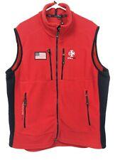 RLX Ralph Lauren Mens XXL Fleece Vest American Flag USA Red Full Zip NWOT