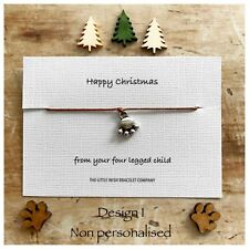 Happy Christmas From the Dog Cat Pet Animal Lover Wish Bracelet Personalise Gift