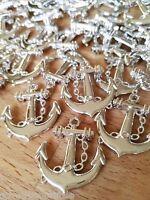 10 x Anker Anchor 2.5cm Tischdekoration Deko Maritim Silber zum Aufnähen