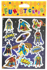 6 Super Hero Sticker Sheets - Pinata Toy Loot/Party Bag Fillers Kids